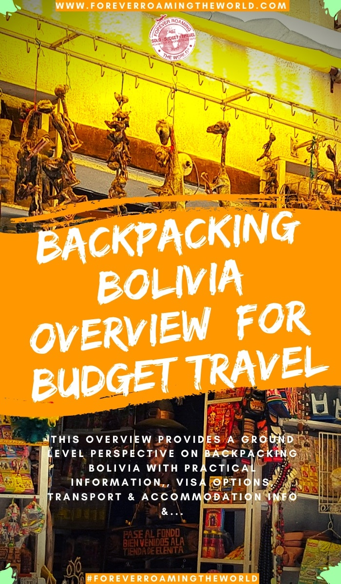 This backpacking Bolivia overview, gives you an insight into practical tips for everyday backpacking life, visas options, things to be wary of, transport and accommodation options, an interactive map and more #solotravel #backpacking #backpacker #travelblog #budgettravel #solobackpacker #bolivia #backpackingbolivia #travelbolivia #solotravelbolivia #boliviatips #boliviaguide