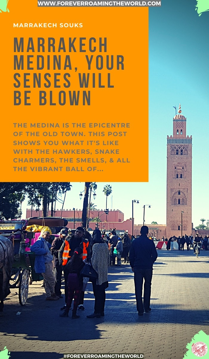 The famous old town of Marrakech is just an electric ball of vibrant atmosphere and smells, and all your senses will be blown. Why is it like that inside the famous medina? Find out in this post. #Marrakech #medina #oldtown #jemaaelfna #solotravel #marrakechmedina #solotravel #backpacker #budgettravel #budgetbackpacker #travelblog