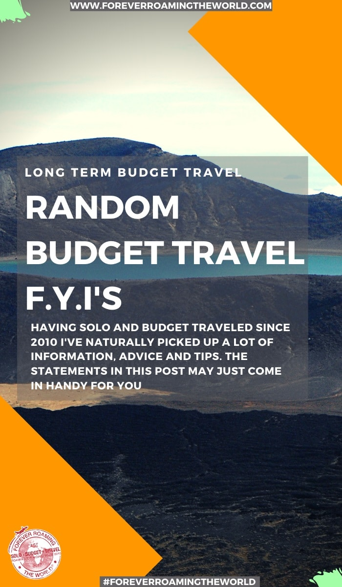 random budget travel FYI's is a post full of random statements for your enjoyment from things I've seen, heard and come across since I started backpacking in 2010 - #travel #solotravel #budgettravel #travelfyis #travelblog